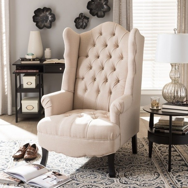 Most Recent Shop Baxton Studio Norwood Beige Tufted Wingback Chair – Free Regarding Norwood Upholstered Side Chairs (View 7 of 20)