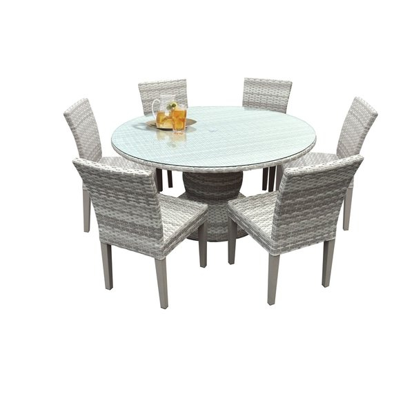 Most Recent Shop Catamaran Outdoor Patio Round Wicker Dining Table With Glass With Wicker And Glass Dining Tables (View 8 of 20)