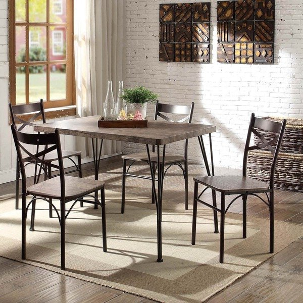 Most Recent Small Dining Sets Regarding Shop Furniture Of America Hathway Industrial 5 Piece Dark Bronze (View 5 of 20)