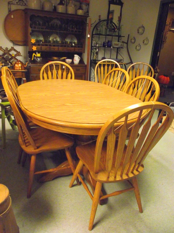 Most Recent Solid Oak Dining Tables And 8 Chairs Intended For Dinaire Solid Oak Dining Room Set Double Pedestal Table 8 Chairs  (View 9 of 20)