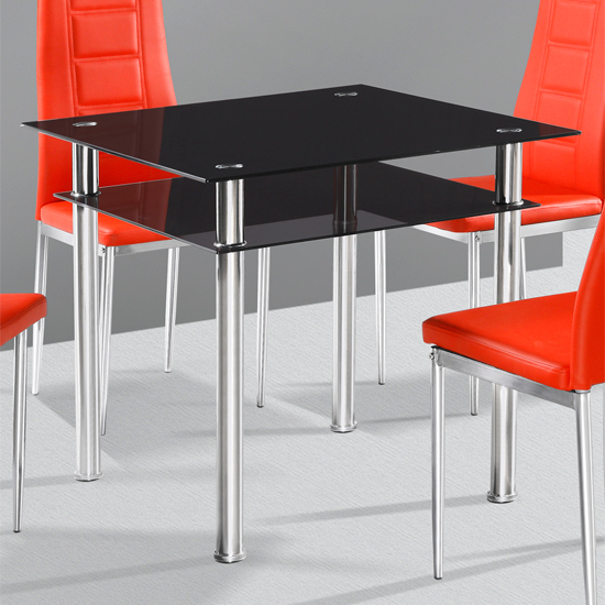 Most Recent Square Black Glass Dining Tables Regarding Callisto Black Glass Dining Table Only 18209 Furniture In (Gallery 3 of 20)