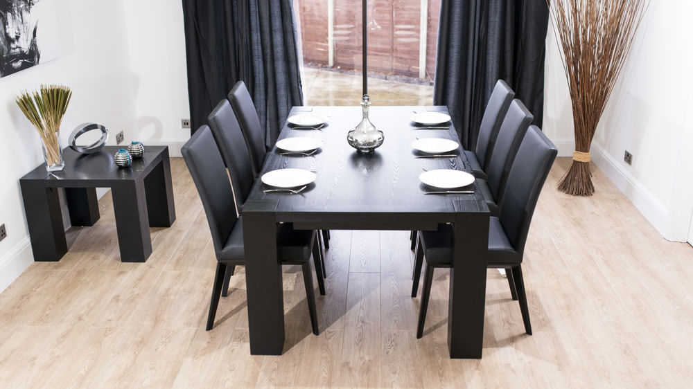 Most Recent Stylish Large Black Ash Wood Extending Dining Set (View 7 of 20)