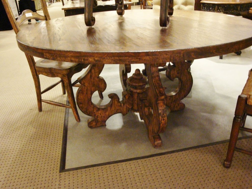 "Most Recent Tuscany French Country 60"" Round Dining Table Cambridge Dark Rustic With Regard To Combs 5 Piece Dining Sets With Mindy Slipcovered Chairs (View 15 of 20)"