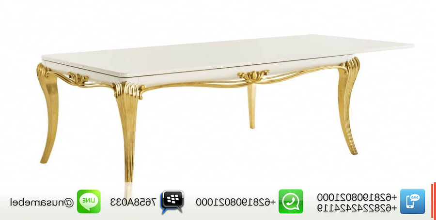 Most Recent White French Extending Dining Table Mansyur (View 19 of 20)