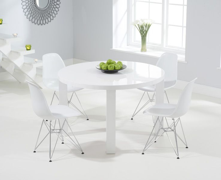 Most Recent White High Gloss Oval Dining Tables Regarding Atlanta 120cm Round White High Gloss Dining Table With Charles Eames (View 7 of 20)