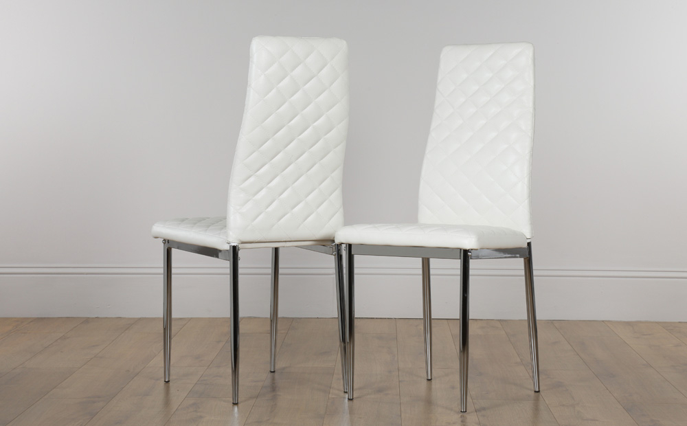 Most Recent White Leather Dining Chairs With Regard To 2 4 6 8 Renzo White Leather Dining Room Chairs (Chrome Legs) (View 9 of 20)