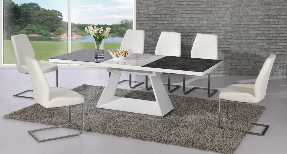 Most Recently Released Amsterdam Glass And Gloss Extending White And Black Dining Intended For Glass Extendable Dining Tables And 6 Chairs (View 15 of 20)