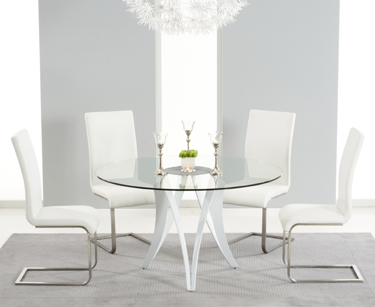 Most Recently Released Berlin 130Cm Glass And White High Gloss Round Dining Table With Intended For Glass Dining Tables White Chairs (View 14 of 20)