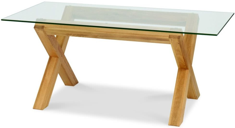 Most Recently Released Buy Bentley Designs Lyon Oak Glass Rectangular Dining Table – 180Cm For Round Glass And Oak Dining Tables (View 12 of 20)