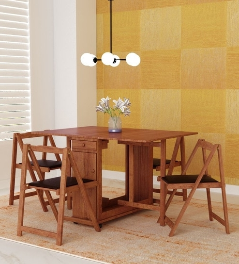 Most Recently Released Buy Compact Four Seater Folding Dining Sethometown Online – Four For Compact Folding Dining Tables And Chairs (View 16 of 20)