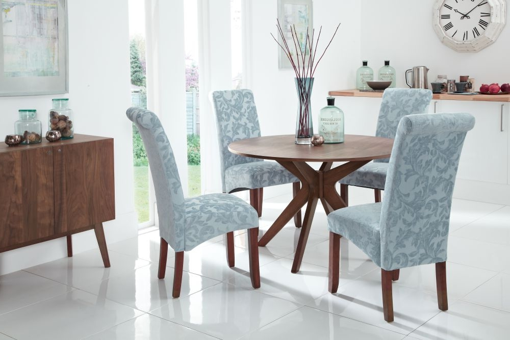 Most Recently Released Buy Serene Waltham Walnut Round Fixed Top Dining Set With 4 Kingston For Kingston Dining Tables And Chairs (View 11 of 20)