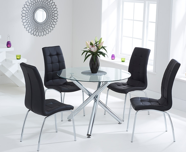 Most Recently Released Canvey Glass 100Cm Round Dining Set With 2 Forli Black Chairs With Round Black Glass Dining Tables And 4 Chairs (View 4 of 20)