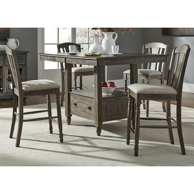 "Most Recently Released Combs 5 Piece 48 Inch Extension Dining Sets With Mindy Side Chairs Pertaining To Gracie Oaks Citronelle Slat Back 19"" Bar Stool With Cushion (Set Of (View 14 of 20)"