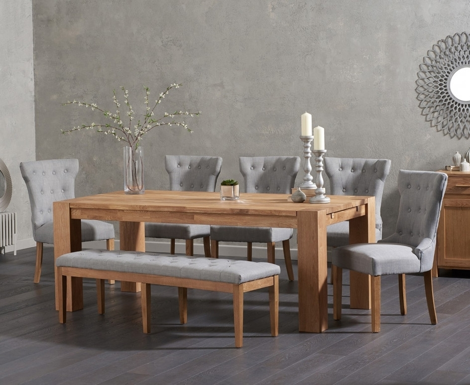 Most Recently Released Cora Dining Tables In Madrid 200cm Solid Oak Dining Table With Cora Fabric Chairs And Cora (View 9 of 20)