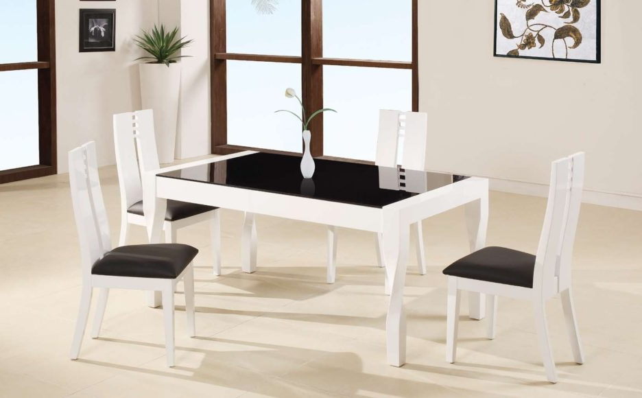 Most Recently Released Cream Lacquer Dining Tables Within White Lacquer Teak Wood Dining Table Using Black Glass Top Placed On (View 17 of 20)