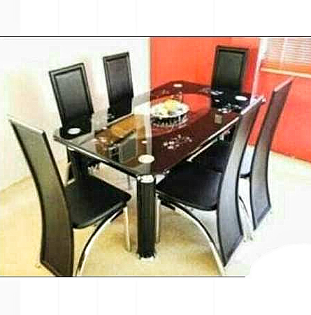 Most Recently Released Curved Glass Dining Tables Throughout Armada 6 Seater Curved Tempered Glass Dining Table With 6 Leather Chairs (View 14 of 20)