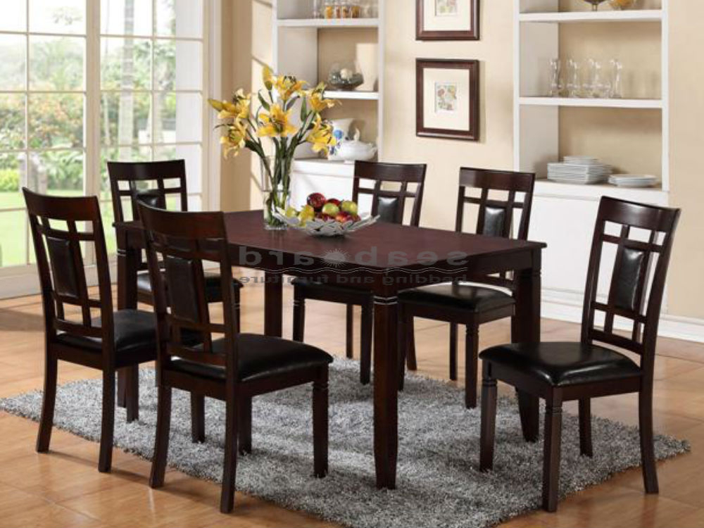 Most Recently Released Dark Dining Room Tables Pertaining To Paige 7 Piece Dining Room Set In Dark Brown (View 3 of 20)