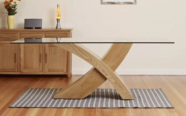 Most Recently Released Dining Table Glass Top Oak X Cross Legs Dining Room Furniture Modern Throughout Glass Dining Tables With Oak Legs (View 10 of 20)