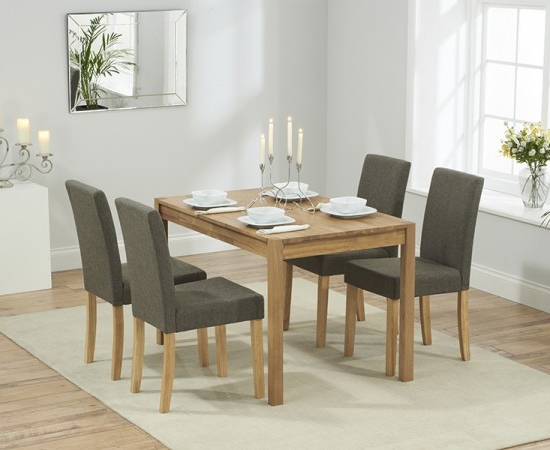 Most Recently Released Dining Tables And Fabric Chairs For Promo 120 Cm Solid Oak Dining Table + 4 Maiya Brown Fabric Chairs (View 19 of 20)