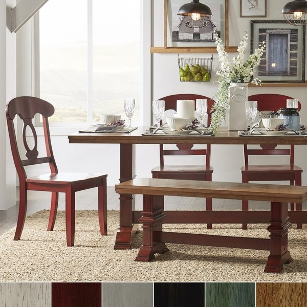 Most Recently Released Eleanor Berry Red Farmhouse Trestle Base Napoleon Back 6 Piece Intended For Caden 6 Piece Rectangle Dining Sets (View 13 of 20)