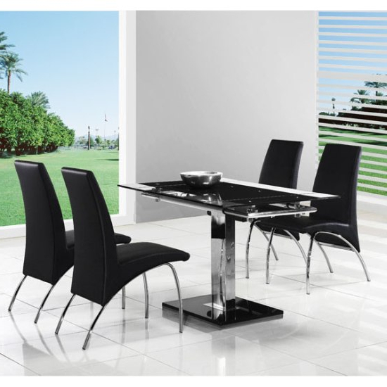Most Recently Released Extendable Dining Tables And 4 Chairs Intended For Enke Extendable Dining Table With 4 G614 Dining Chairs (View 6 of 20)