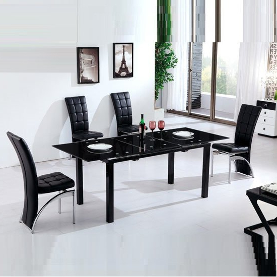 Most Recently Released Extending Black Dining Tables Throughout Florence Extending Black Glass Dining Table With 6 Ravenna (View 14 of 20)