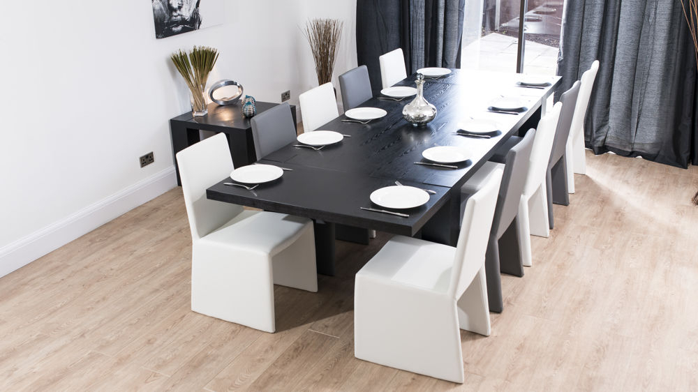 Most Recently Released Extending Dining Tables With 14 Seats Pertaining To Modern Chunky Black Ash Dining Set (View 6 of 20)
