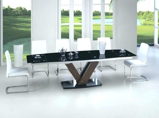 Most Recently Released Extending Glass Dining Table And 8 Chairs Extendable Glass Dining In Extending Glass Dining Tables And 8 Chairs (View 15 of 20)