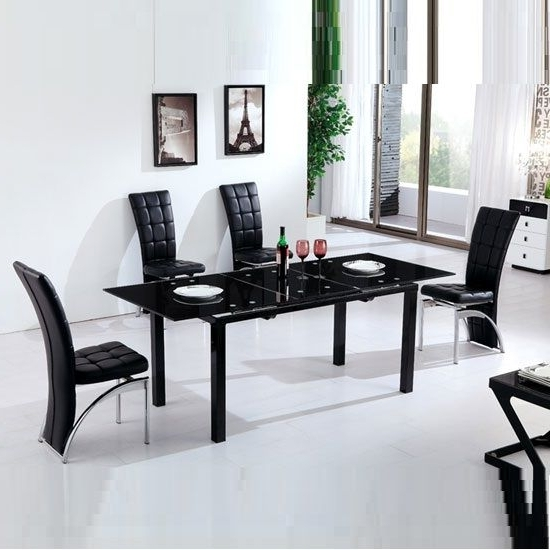 Most Recently Released Florence Extending Black Glass Dining Table With 6 Ravenna Chair Within Black Glass Extending Dining Tables 6 Chairs (View 15 of 20)