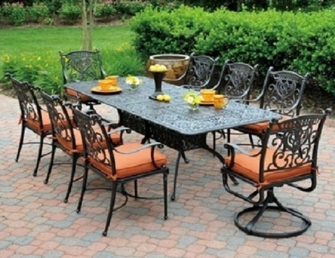 Most Recently Released Garten Onyx Chairs With Greywash Finish Set Of 2 Regarding Grand Tuscanyhanamint 8 Seat Luxury Cast Aluminum Patio (View 16 of 20)