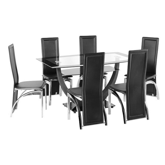 Most Recently Released Glass Dining Tables With 6 Chairs For Carlson Glass Dining Table And 6 Chairs 18502 Furniture In (Gallery 4 of 20)