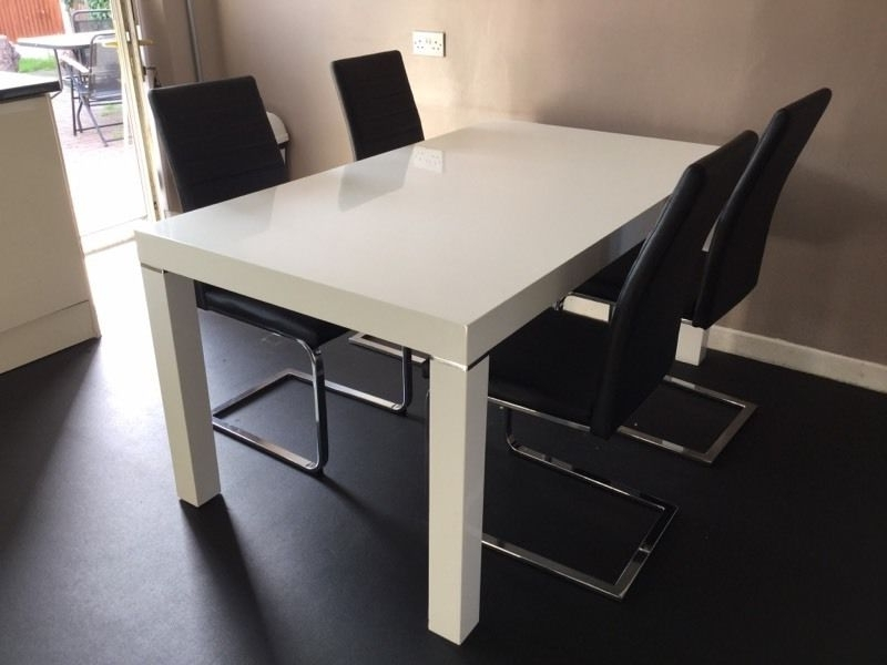 Most Recently Released Harvey's White Gloss Morano Table With Four Black Alcora Chairs For Alcora Dining Chairs (View 15 of 20)