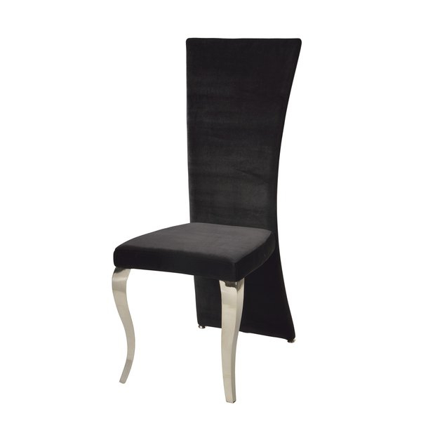 Most Recently Released High Back Dining Chairs With Shop Somette Tabitha Black Velvet Rectangle High Back Dining Chair (Gallery 4 of 20)