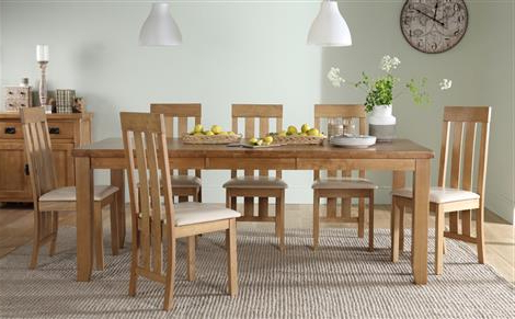 Most Recently Released Highbury Oak Extending Dining Table With 8 Kendal Chairs (brown Seat Inside Dining Tables For (View 9 of 20)