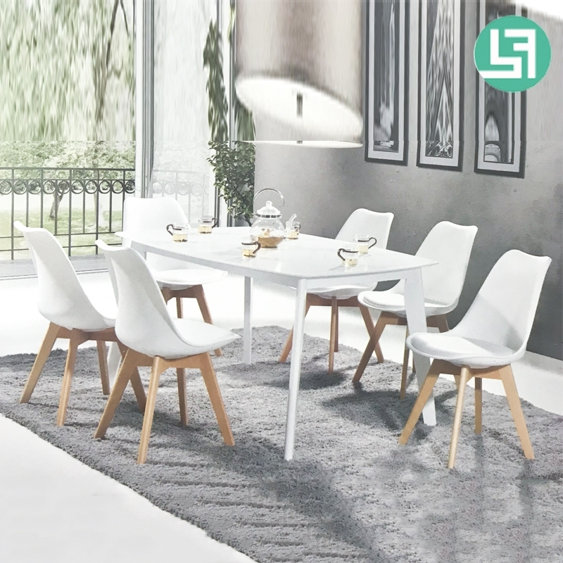 Most Recently Released Jaxon Designer Pp Shell 6 Seater Dining Set White – Furnituredirect With Jaxon Wood Side Chairs (View 13 of 20)