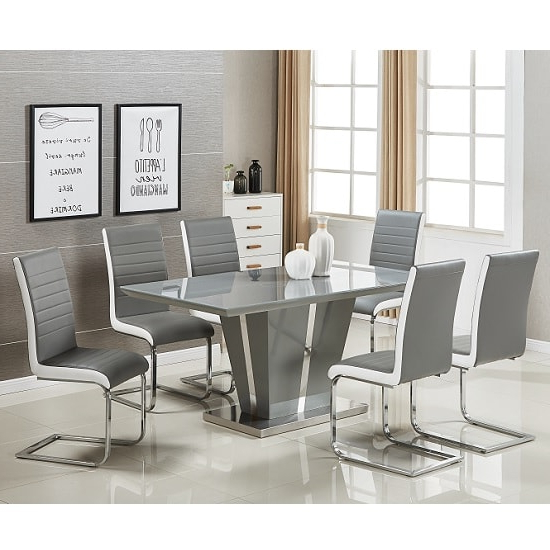 Most Recently Released Memphis Glass Dining Table In Grey Gloss And 6 Symphony Inside Grey Gloss Dining Tables (View 17 of 20)