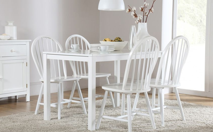 Most Recently Released Milton White Dining Table And 4 Windsor Chairs Set Only £249.99 Inside Milton Dining Tables (Gallery 7 of 20)