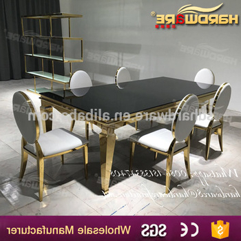 Most Recently Released Mirror Glass Dining Tables Intended For Hotel Gold Stainless Steel Mirror Glass Top Wedding Dining Table (View 9 of 20)