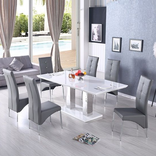 Most Recently Released Monton Extendable Dining Table In White With 6 Vesta Grey Chairs In For Hi Gloss Dining Tables (View 16 of 20)