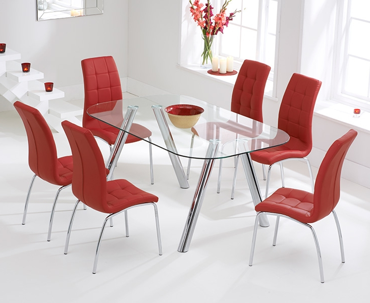 Most Recently Released Neath Glass 160cm Dining Set With 4 Forli Red Chairs In Red Dining Tables And Chairs (View 12 of 20)