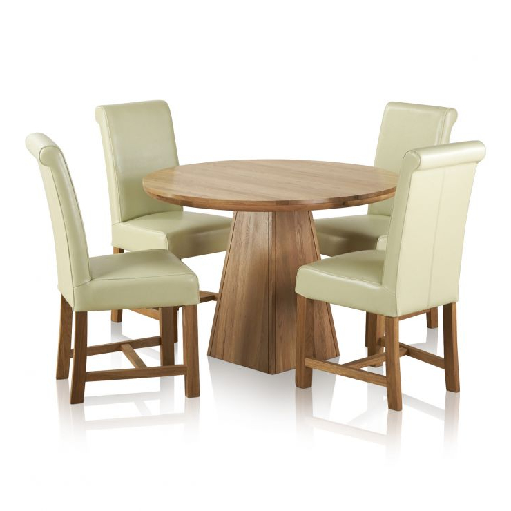 Most Recently Released Provence Dining Tables Pertaining To Provence Dining Set In Real Oak: Table + 4 Leather Cream Chairs (View 16 of 20)