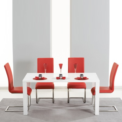 Most Recently Released Red Gloss Dining Tables Pertaining To Harvey 160Cm High Gloss White Dining Table With 4 Milan Red Chairs (Gallery 2 of 20)