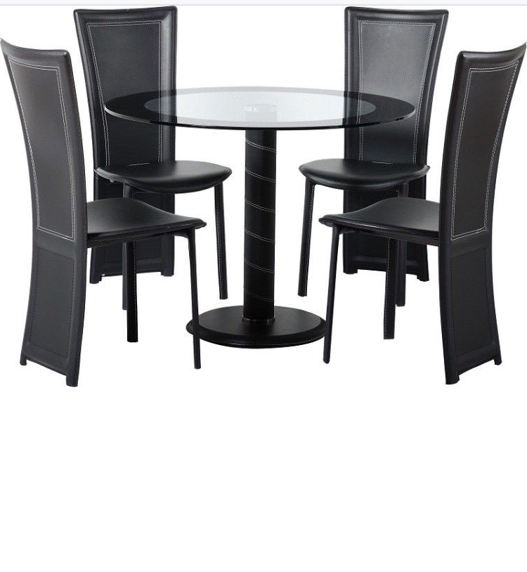 Most Recently Released Round Black Glass Dining Tables And 4 Chairs For Cameo 100Cm Glass Round Dining Table And 4 Chairs Set. Brand New (Gallery 6 of 20)