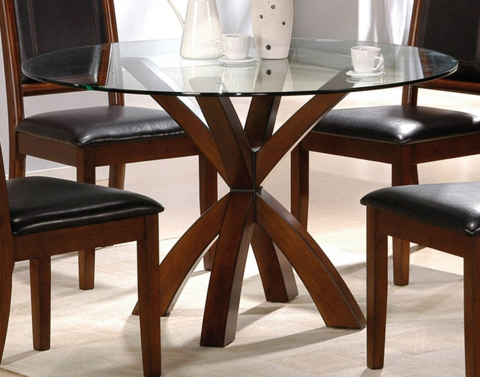 Most Recently Released Round Glass Dining Tables With Oak Legs Pertaining To Dining Room (View 11 of 20)