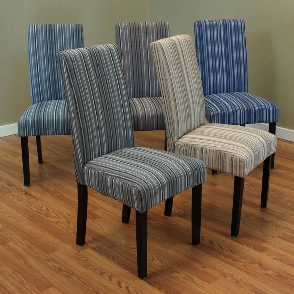 Most Recently Released Shop Monsoon Seville Stripe Fabric Dining Chairs (Set Of 2) – Free Throughout Caira Black 7 Piece Dining Sets With Arm Chairs & Diamond Back Chairs (View 8 of 20)