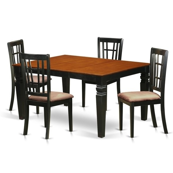 Most Recently Released Weni5 Bch 5 Pc Dinette Set With A Dining Table And 4 Kitchen Chairs Within Caden 5 Piece Round Dining Sets With Upholstered Side Chairs (View 13 of 20)