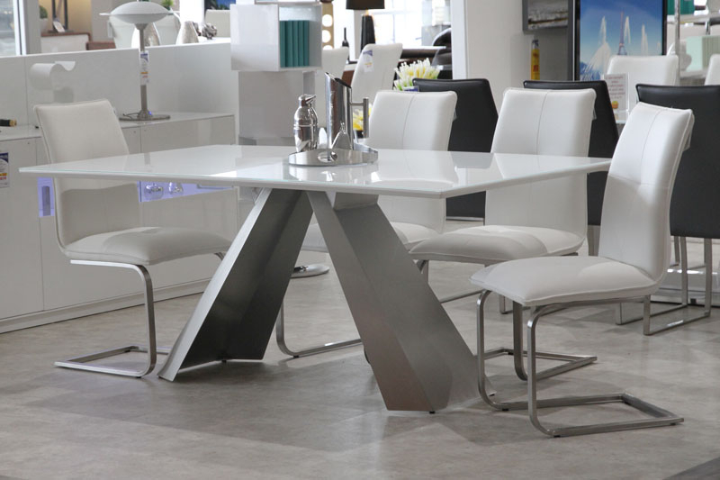 Most Recently Released White Glass Dining Table – Anastasia Table – Mobler Furniture Edmonton Pertaining To White Glass Dining Tables And Chairs (View 18 of 20)