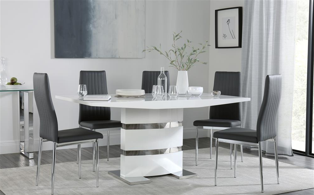 Most Recently Released White High Gloss Dining Chairs Inside Komoro White High Gloss Dining Table With 6 Leon Grey Chairs Only (View 8 of 20)