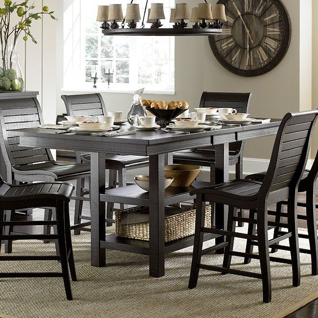 Most Recently Released Willow Rectangular Counter Height Table (Distressed Black) In 2018 With Jaxon Grey 6 Piece Rectangle Extension Dining Sets With Bench & Uph Chairs (View 13 of 20)