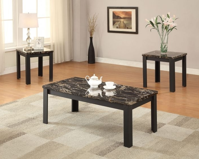 Most Up To Date Acme 82130 Carly Faux Faux Marble Black 3Pc Pack Coffee Table Set With Carly Rectangle Dining Tables (View 17 of 20)